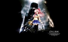 Картинка девушка, меч, аниме, хаос вершина, chaos;head