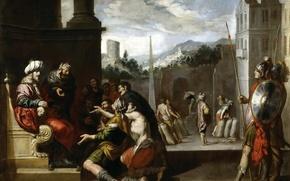 Картинка картина, религия, мифология, Antonio del Castillo y Saavedra, Иосиф Приказывает Симеону Остаться