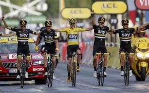 Картинка победа, гонка, спорт, Париж, велосипедисты, велоспорт, Chris Froome, Тур де Франс, Ian Stannard, Mikel Landa, …
