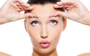 Обои eyebrows, lips, hands, skin, eyes, woman