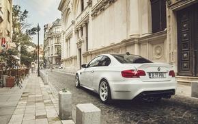 Картинка BMW, City, Car, White, E92, Tuning, Sport, Rear