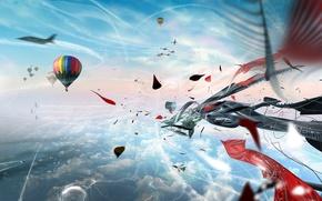 Обои шары, облака, самолеты