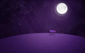 Картинка ночь, луна, звёзды, сердечки, валентинка