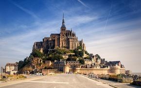 Картинка небо, замок, Франция, Нормандия, Мон-Сен-Мишель