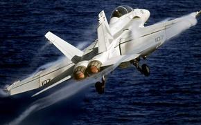 Картинка самолет, Boeing, США, штурмовик, истребитель-бомбардировщик, палубный, Эффект Прандтля — Глоерта, F/A-18F Super Hornet, 154 эскадрилья