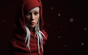Картинка девушка, кукла, в красном