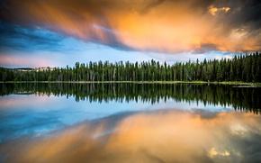 Картинка лес, небо, облака, озеро