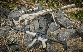 Картинка трава, камни, Оружие, снайперская винтовка, обоймы, HK PSG-8w; пистолет-пулемёт, HK MP5A3-F