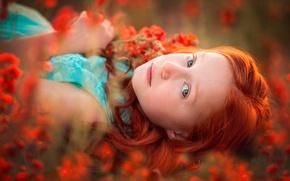 Картинка девочка, веснушки, цветочки, рыжеволосая