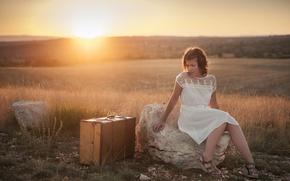 Картинка девушка, закат, настроение, чемодан