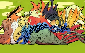 Картинка звери, Naruto, демоны, хвосты, девятихвостый лис, Kurama, jinchuriki, Наруто Ураганные хроники, by Masashi Kishimoto