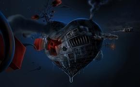 Обои сердце, механическое, metal heart, стим-панк, космос