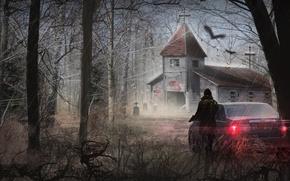 Картинка машина, девушка, деревья, ветки, пистолет, арт, церковь, заброшенная