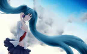 Обои небо, облака, слезы, телефон, vocaloid, hatsune miku, вокалоид, мобильник, хвостики