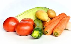 Обои помидоры, морковка, еда, овощи