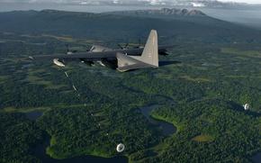 Картинка полёт, самолёт, военно-транспортный, Lockheed Martin, C-130