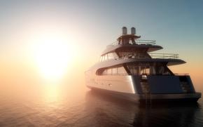 Картинка море, туман, рассвет, утро, яхта, 3D