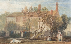 Картинка пейзаж, дом, люди, картина, двор, акварель, Уильям Тёрнер, Near Farnley, Steeton Manor House