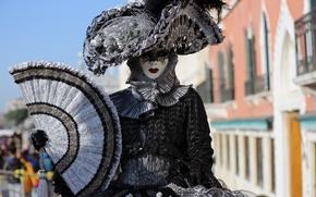 Картинка девушка, маска, костюм, карнавал