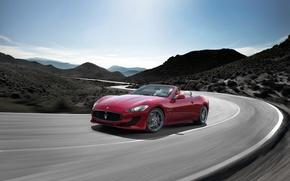 Картинка Maserati, Небо, Дорога, День, Холмы, Передок, Размытие, Grancabrio