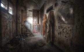 Обои мрак, дверь, окно
