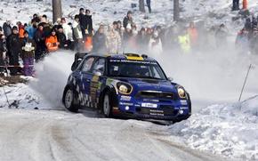 Картинка Зима, Синий, Снег, Люди, Занос, Mini Cooper, WRC, передок, Rally, MINI, Мини Купер