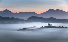 Обои горы, Словения, Карпаты, церковь, туман