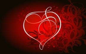 Картинка свет, линии, абстракция, обои, сердце, вектор, изгиб, полумрак, влюбленные, вензель, валентин