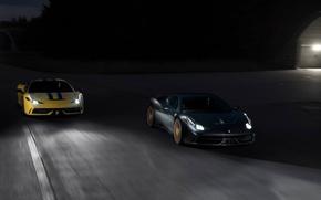 Картинка дорога, жёлтый, серый, ferrari, феррари, grey, yellow, свет фар, 458 speciale