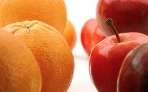 Обои макро, яблоки, апельсины