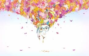 Картинка стиль, flowers, цветы, краски, glasses, butterflies, лицо, face, art, лепестки, бабочки, очки, style