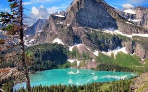 Картинка лес, горы, природа, озеро, Glacier National Park