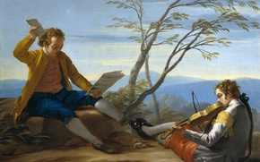 Картинка ноты, скрипка, картина, жанровая, Jose del Castillo, Два Музыцирующих Мальчика