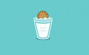 Обои Smile, Минимализм, Стакан Молока, Печенька, Арт, Blue
