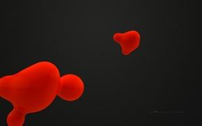 Картинка красный, абстракция, фон, черный, графика, минимализм, пятна, love, liquid, невесомость