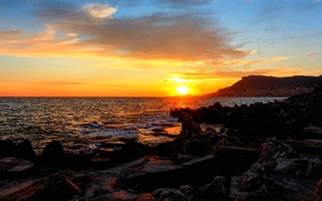 Обои море, Монако, восход, Monte-Carlo, побережье, камни, закат