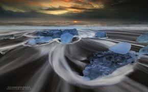Обои океан, море, льдины, пляж, лёд