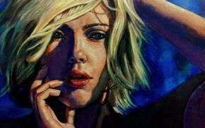 Картинка девушка, лицо, актриса, Scarlett Johansson, арт, красавица