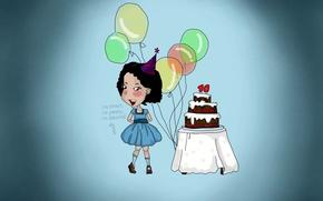 Обои шарики, день рождения, праздник, голубой, девочка, торт, 10 лет