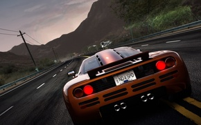 Картинка дорога, машина, горы, лэп, Need for Speed: Hot Pursuit