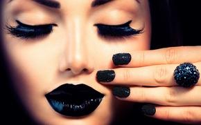 Обои ресницы, маникюр, губы, девушка, Анна Субботина, макияж