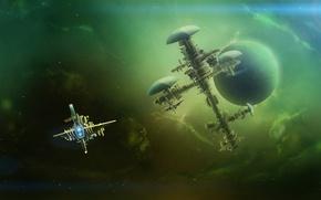 Картинка космос, корабль, путешествие, deep space, space station