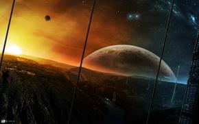 Картинка небо, звезды, свет, горы, город, будущее, планеты, корабли, башни