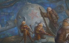 Картинка космос, станция, ссср, космонавты, скафандры