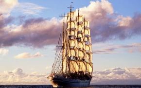 Обои море, корабль, паруса