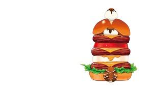 Картинка еда, арт, воробей, чизбургер