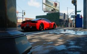 Картинка улица, светофор, Ferrari, щит, солнечно, The Crew, Wild Run, 450 Italia