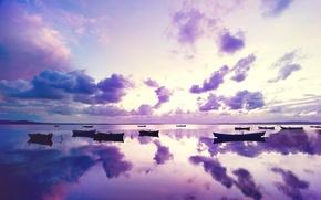 Картинка море, небо, облака, закат, лодки