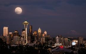 Картинка небо, ночь, город, огни, луна, здания, башня, дома, США, Space Needle, небоскрёбы, Сиэттл, космическая игла, …
