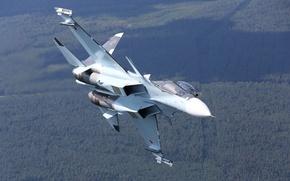 Картинка полет, истребитель, российский, многоцелевой, двухместный, Су-30СМ
